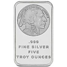 5 oz Silver Bars SilverTowne Buffalo Design .999 Fine Bullion Ingot