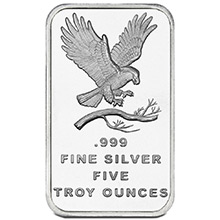 5 oz Silver Bars SilverTowne Eagle .999 Fine Bullion Ingot