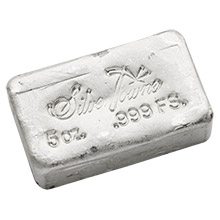 5 oz Silver Bars SilverTowne Hand Poured .999 Fine Bullion Loaf Ingot