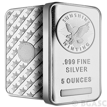 5 oz Sunshine Minting Silver Bar Bullion Sealed .999 Fine Silver Ingot Five Ounces - Images
