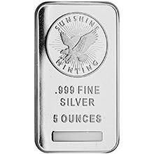 5 oz Silver Bars Sunshine Minting .999 Fine Bullion Ingot