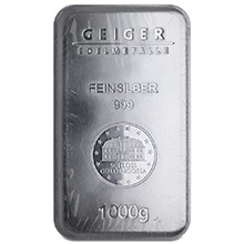 1 Kilo Silver Bars Geiger Security Line (32.15 troy oz) .999 Fine Bullion Ingot (Secondary Market)
