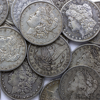 Tube of 20 Fine - Extra Fine Pre-1921 Morgan Silver Dollars 1878-1904 Coins F-XF Roll - Image
