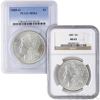 MS63 Graded Morgan Silver Dollar 1878-1904 Silver Coins NGC / PCGS
