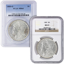 MS63 Graded Morgan Silver Dollar 1878-1904 Silver Coins NGC / PCGS