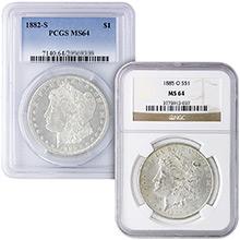 MS64 Graded Morgan Silver Dollar 1878-1904 Silver Coins NGC / PCGS