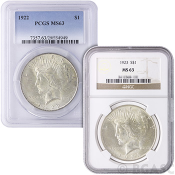 MS63 Graded Peace Silver Dollars Silver Coins - Image