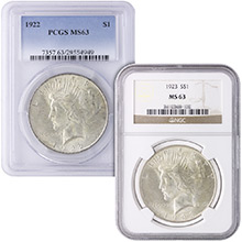 MS63 Graded Peace Silver Dollar Coins