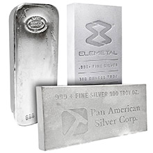 100 oz Silver Bars - Secondary Market (Random Assorted)
