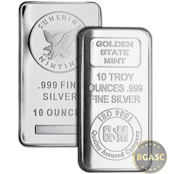 10 oz Silver Bars - Secondary Market (Random Assorted)