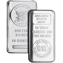 10 oz Silver Bars - Secondary Market (Random Assorted)