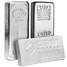 1 Kilo Silver Bars (32.15 troy oz) - Secondary Market (Random Assorted)