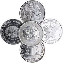 1 oz Silver Rounds - Secondary Market (Random Assorted)