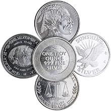1 oz Silver Rounds - Secondary Market (Random Assorted)