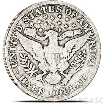 90 Percent Silver Coin $0.50 Face Value in Barber Half Dollars - Image
