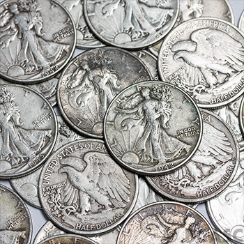 90 Percent Silver Coins $0.50 Face Value in Walking Liberty Half Dollars - Image