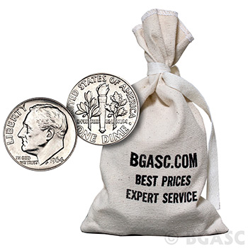 90 Percent Silver Coins $100 Face Value Bag in Dimes - Image