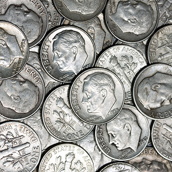 90 Percent Silver Coins $500 Face Value Bag in Dimes - Image