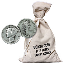 90% Silver Coins $500 Face Value Bag in Mercury Dimes