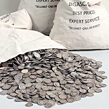 90 Percent Silver Coins $500 Face Value Bag in Mercury Dimes - Image