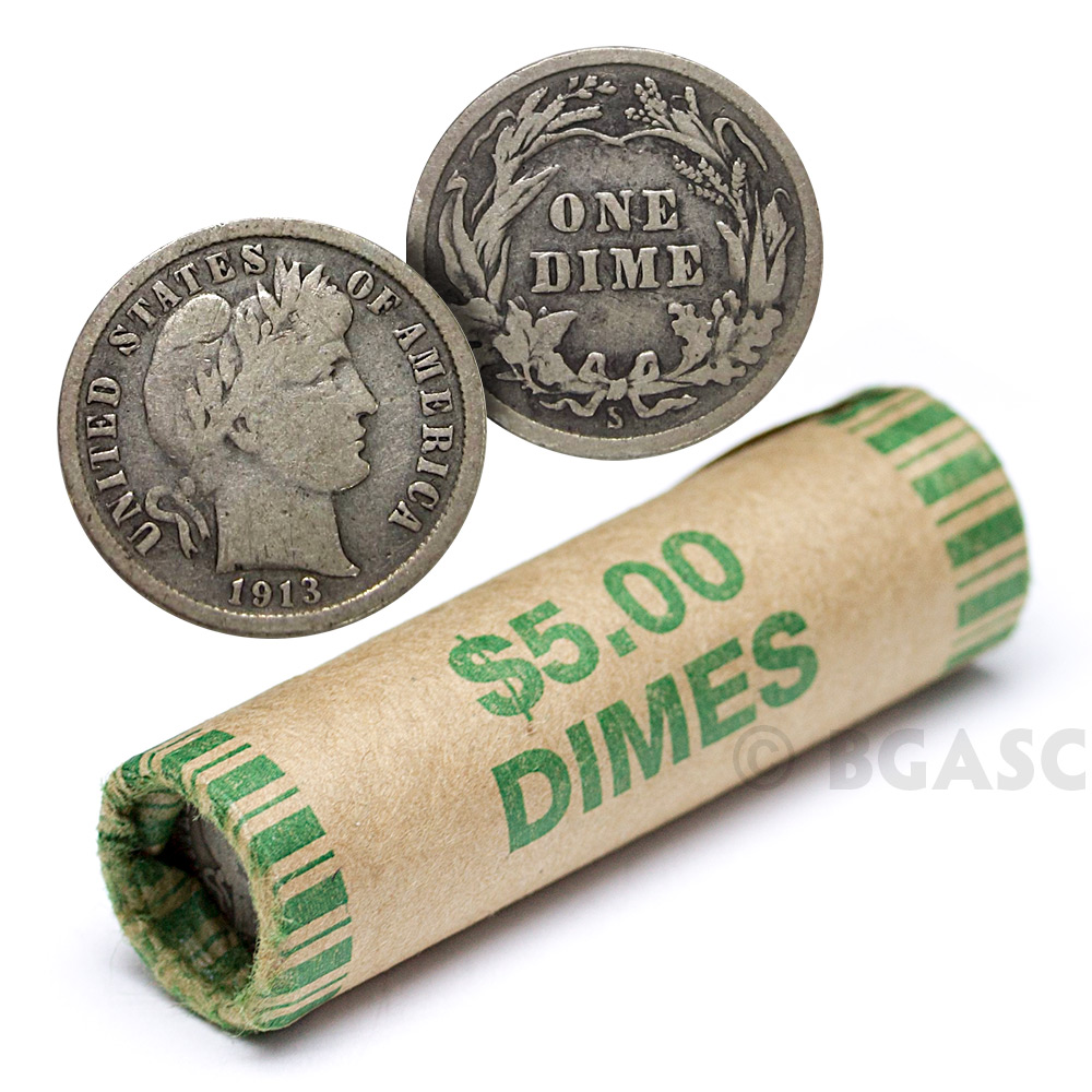 Buy 90 Silver Barber Dime Roll 50 Coins 90 Percent