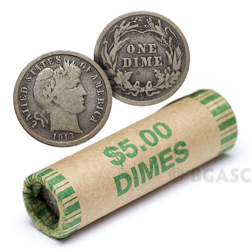 Random Year, BU $5 Face Value Roosevelt Dimes 90/% Silver 50-Coin Roll