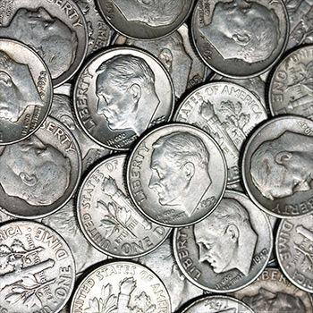 90 Percent Roosevelt Dime Roll - 50 Coins 90 Percent Silver - Image