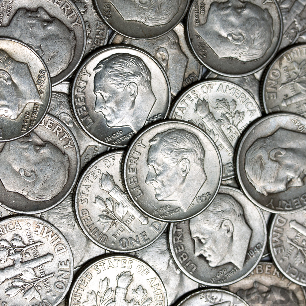 Buy 90 Silver Roosevelt Dime Roll 50 Coins 90 Percent