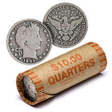 90% Silver Barber Quarter Roll - 40 Coins 90 Percent Silver