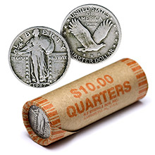 90% Silver Standing Liberty Quarter Roll  - 40 Coins 90 Percent Silver