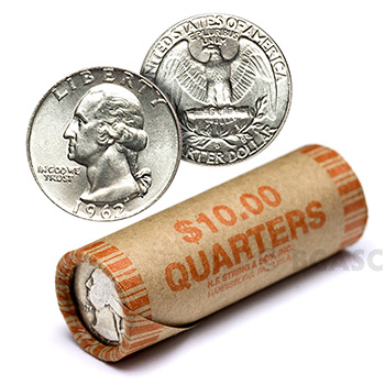 90% Silver Washington Quarter Roll - 40 Coins 90 Percent Silver
