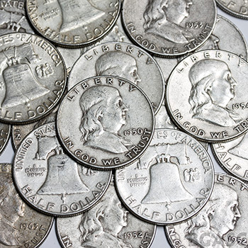 90 Percent Silver Coins $100 Face Value Bag in Franklin Half Dollars - Image