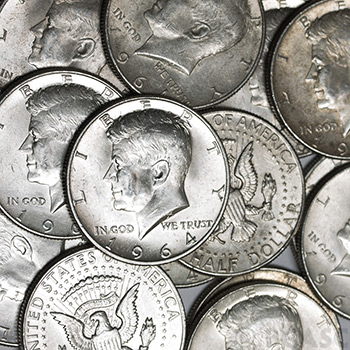 90 Percent Silver Coins $100 Face Value Bag in Kennedy Half Dollars - Image