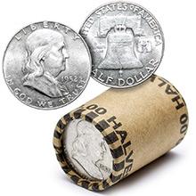 90% Silver Franklin Half Dollar Roll - 20 Coins 90 Percent Silver