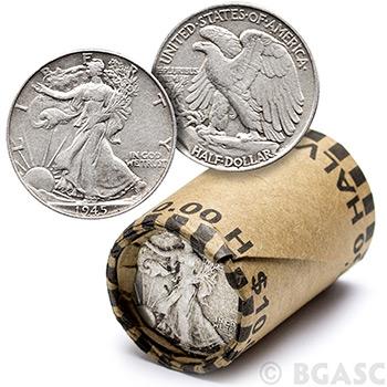 90% Silver Walking Liberty Half Dollar Roll - 20 Coins 90 Percent Silver