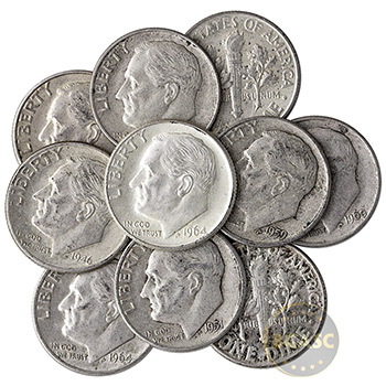 90% Silver Dimes - $1 Face Value in 90 Percent Junk Silver Coins