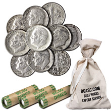 90% Silver Roosevelt Dimes - $1 Face Value U.S. Mint Coins (Rolls & Bags Available)