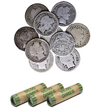 90$ Silver Barber Dimes - $1 Face Value U.S. Mint Coins (Rolls Available)
