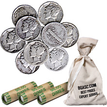 90% Silver Mercury Dimes - $1 Face Value U.S. Mint Coins (Rolls & Bags Available)