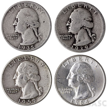 90% Silver Quarters - $1 Face Value in 90 Percent Junk Silver Coins