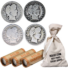 90% Silver Barber Quarters - $1 Face Value U.S. Mint Coins (Rolls & Bags Available)