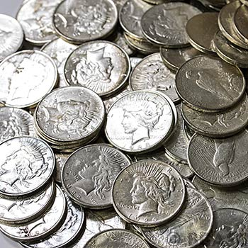 Peace Silver Dollars 100 Coin Bag Cull Silver Coins - Image