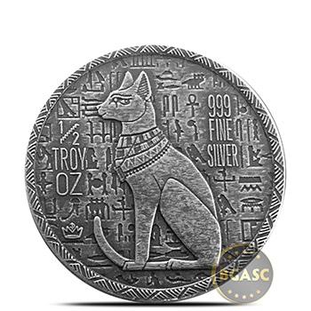 1/2 oz Silver Rounds MPM Egyptian .999+ Fine Fractional Bullion Cat Goddess Bastet - Image