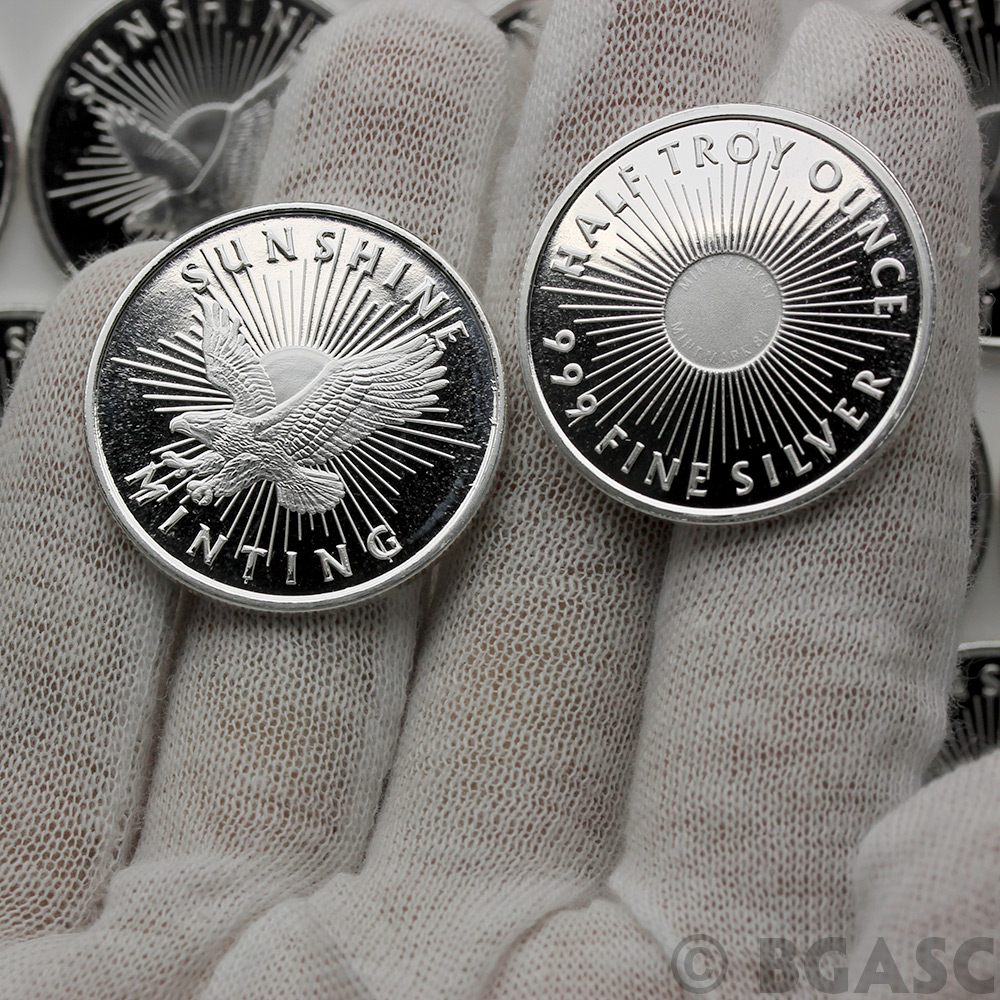 Buy 1 2 Oz Silver Rounds Sunshine Minting 999 Fine Silver