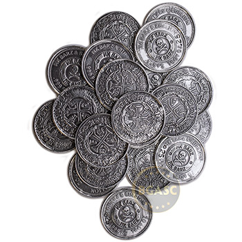 .25 oz Silver Rounds MK BarZ Pirate Spanish Doubloon .999 Fine Fractional Bullion - Image