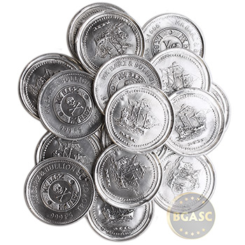 .25 oz Silver Rounds MK BarZ Pirate Ship Maiden Voyage .999 Fine Fractional Bullion - Image