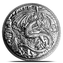 10 oz Silver Rounds Dragon vs Vikings Ultra High Relief .999 Fine Storytelling Round w/ Display Box