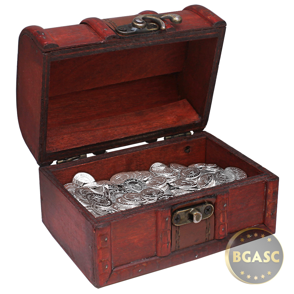 Buy treasure chest of 100 x 1 gram silver salmon rounds for Storage treasures