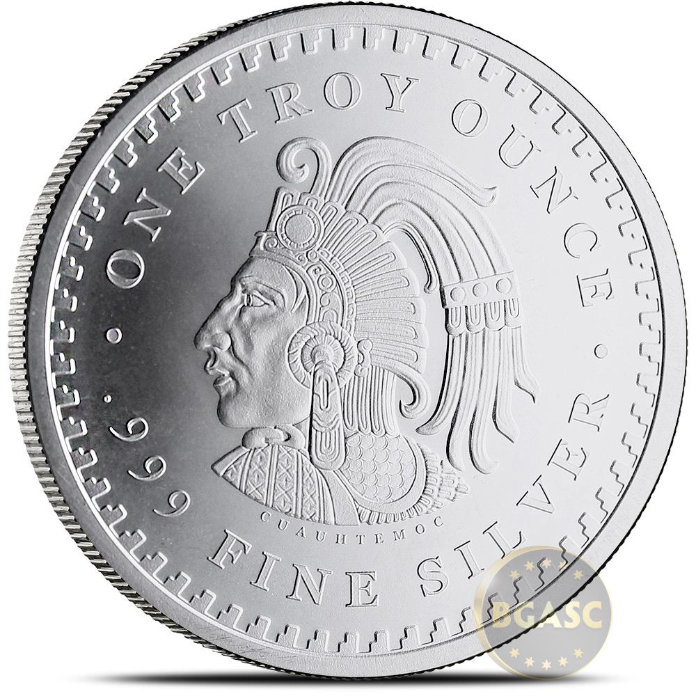Cuauhtemoc 1 oz .999 Silver BU Round Bullion Coin Free Ship! Aztec Calendar