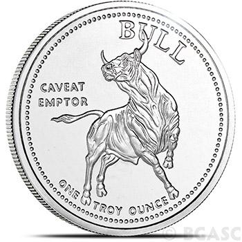 1 oz Silver Bull / Bear Market Rounds .999+ Fine Silver Bullion
